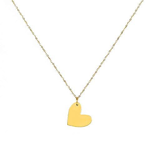 Minty & Posh Frauen Herz Halskette - Veredelt mit 18 Karat Gold für Damen (Gold)