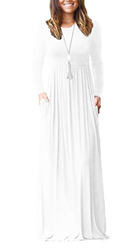 VIISHOW Women's Long Sleeve Simple Long Dresses with Pockets Loose Plain Maxi Dresses(White,XXL)