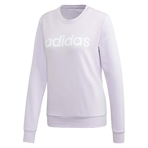adidas Damen Essentials Linear Sweatshirt, Weiß/Lila Tönung, XL