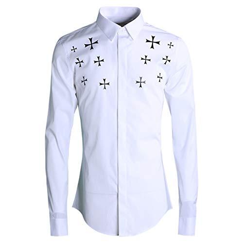 HOSD Nueva Camisa de Hombre de Moda Delgada con Estampado Cruzado Original de