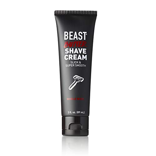 Beast Butter Whole Body Shave Cream - Organic Aloe, Gentle Oats, Ginseng, Vitamins - Super Smooth Slick Foamless - Shaving Lotion Face Head Body Butt Balls Legs Mens Womens - Tame the Beast (3 oz)