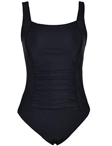 Mycoco Women's One Piece Swimsuit Shirred Bathing Suits Tummy Control Swimwear Black 8