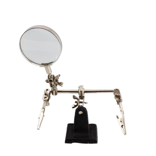 Helping / Third Hands Magnifier Magnifying Loupe Glass 5X Magnification with Stand Hobby Jewelry Watch Repair Tools