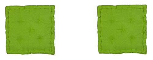 Homevibes Cojín para Silla, Cojin Cuadrado, Juego de 2 Cojines para Suelo o Palet, Medidas 40 x 40 x 7 cm para Interior o Exterior, Hecho 100% de Algodon, Ideal para Decoración (Verde)