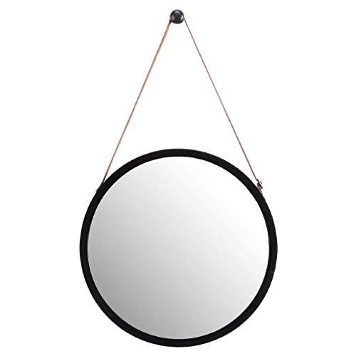 Fransande Espejo de pared redondo colgante en baño y dormitorio, marco de bambú sólido y correa de cuero ajustable (negro, 38 cm)