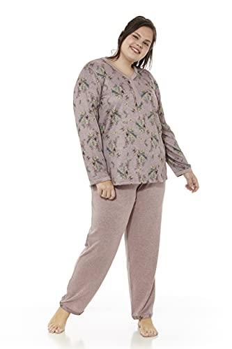 Mabel Intima Piżama damska, duży rozmiar, duży rozmiar, pidżama rozmiar XL do rozmiaru XXXXXL, Brązowy z nadrukiem na górze,