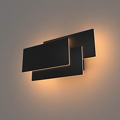 K-Bright Wandlampe,24W LED Wandleuchten,Aluminium Modern Design Lampe, Wandstrahler Effektlampe Licht warmweiß,Schwarz