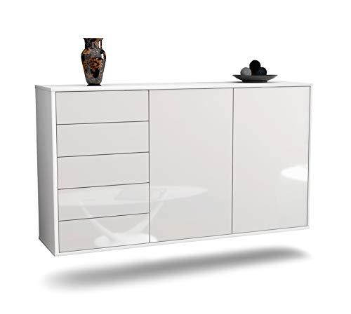 Dekati Sideboard Peoria hängend (136x77x35cm) Korpus Weiss matt | Front Hochglanz Weiß | Push-to-Open | Leichtlaufschienen