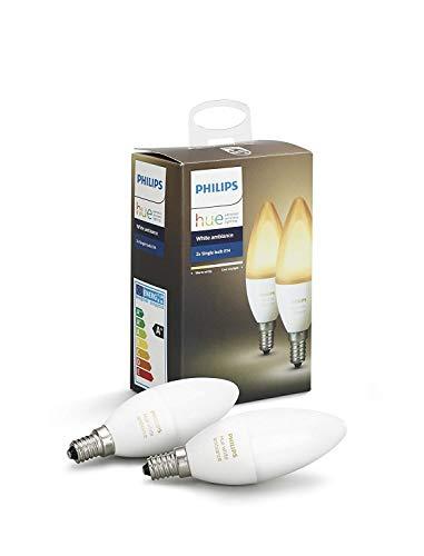 Philips Hue Bombilla Inteligente LED E14, 6 W, Luz Blanca de...