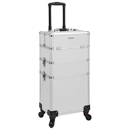 SONGMICS Kosmetikkoffer, professioneller Make-up Koffer, 3-in-1 Schminkkoffer für Reisen, großer Trolley für Friseure, abschließbar, mit um 360° drehbaren Universal-Rollen, silbern JHZ01S