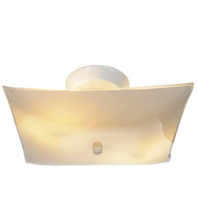 Royal Cove 671370 White Square Glass Ceiling Fixture, 12 In.