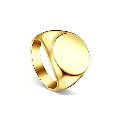 ailov Large Vintage Gold Signet Ring Minimalist Round Bold Statement Chunky Band 18K Gold-Plated Size 6 7 8 Gold