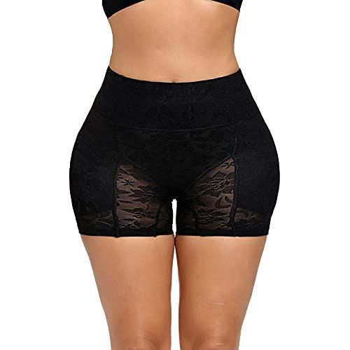 Mujer Braguitas Moldeadoras - Entrenador De Cintura Alta Body Shaper Panties Control De Abdomen Fake Butt Lifter Panty Acolchado Big Ass Hip Enhancer para Mujeres Encaje Ropa Interior, Negro, XL