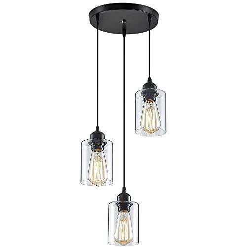 ZHU YAN Light Industrial 3-Light Pendant Lighting, Farmhouse Pendant Lighting Kitchen Light Flush Mount Clear Glass 3 Light Black (Clear Glass)