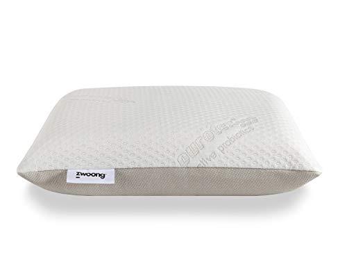 Zwoong Naturlatex - Almohada ergonómica para dormir de lado, contra el dolor de cuello y antialérgica, 60 x 60 cm, color blanco
