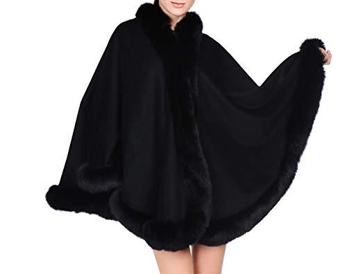 Volare Cashmere Shawl Wrap Cape with Fox Fur Trim (black)