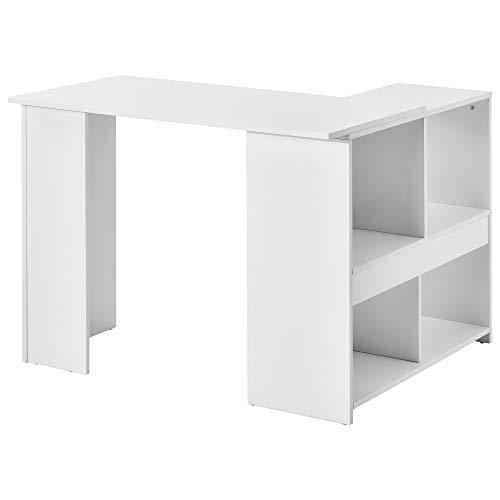 L-Computer Desk with Large Storage Space Study DeskLaptop mesa para oficina en casa, color blanco