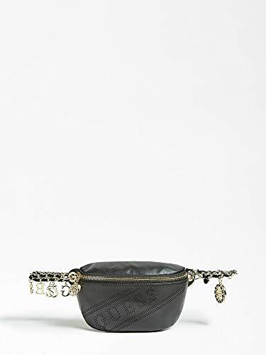 Guess - Sac banane en cuir noir avec logo ajouré, pour femme Ceinture avec chaîne et pendentifs, poches intérieures. Noir Noir Medium