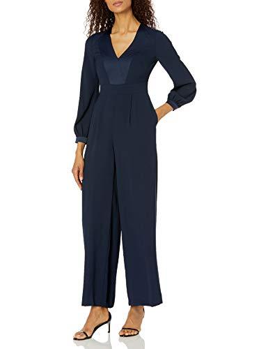 Eliza J Women's Long Sleeved V Neck FIT and Flare Jumpsuit Dress, Navy, 18