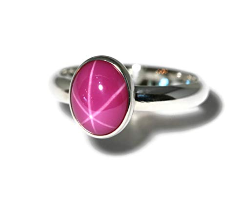 Large Oval Created Pink Star Ruby Sterling Silver Ring