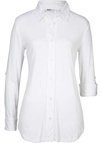 bonprix Bequeme Bluse mit krempelbaren Ärmeln und weicher Viskose weiß 48/50 für...