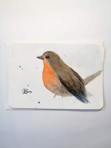 Postkarte/Rotkehlchen/kleines Gemälde/ohne Beschriftung/Original handgemalt/Unikat/Aquarell/kein Druck