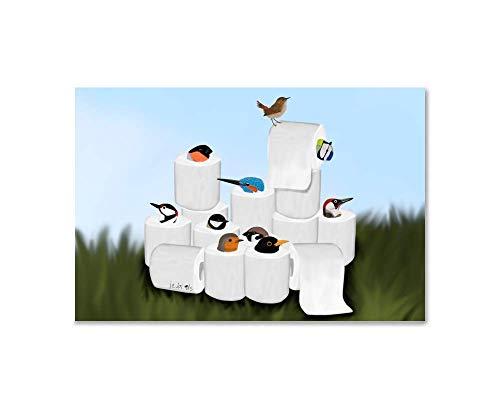 Kinderzimmer Kunst für Kinder Vogel Poster Vögel in Toilettenpapier-Rollen Kunstdruck auf Premium Fotopapier