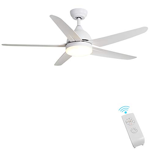 Indoor Ceiling Fan Light Fixtures - FINXIN White Remote LED 52 Ceiling Fans For Bedroom,Living Room,Dining Room Including Motor,5-Blades,Remote Switch (5-Blades)