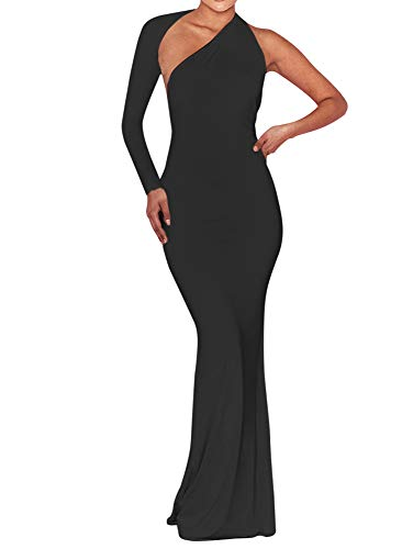 BEAGIMEG Women's Sexy Elegant One Shoulder Backless Evening Long Dress Black
