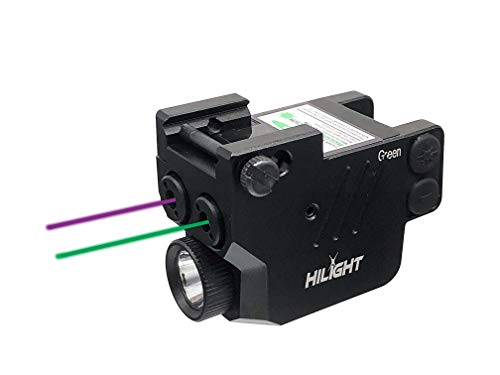 HiLight P3PGL Purple Laser Green Laser Sights and Flashlight Combo for Pistols with Micro USB Rechargeable Battery