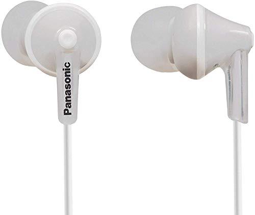 Panasonic RP-HJE125E-W Auriculares Boton con Cable In-Ear (Headphone Sonido Estéreo para Móvil, MP3 MP4, Diseño de Ajuste Cómodo, Imán Neodimio 9mm, Presión de sonido de 97 dB) Color Blanco