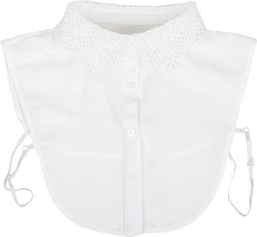 styleBREAKER Cuello de Blusa de Mujer con óptica de Encaje de Ganchillo y Tapeta de Botones, Cuello para Blusas y jerséis 08020006, Color:Blanco