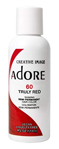 Adore Semi-Permanent Haircolor #060 Truly Red 4 Ounce (118ml) (2 Pack)