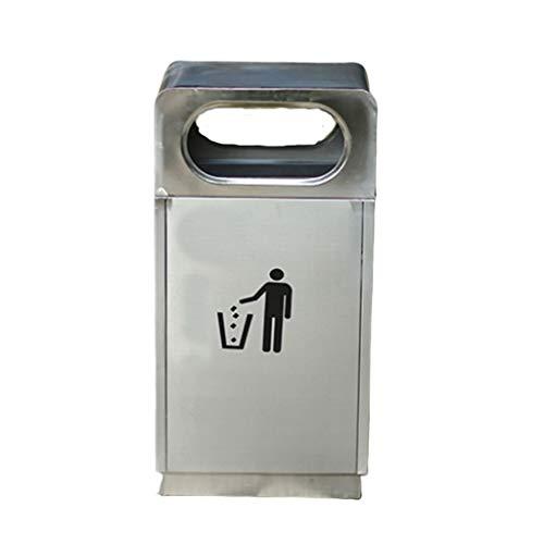 Papelera de acero inoxidable con tapa cuadrada para exteriores, para patio, hotel, cubo de basura reciclaje de residuos de 30 litros (color: cromado)