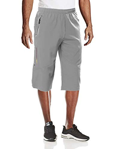 MAGCOMSEN Mens Running Shorts with Phone Pocket Hiking Pants Mens Quick Dry Shorts Summer Shorts 3/4 Shorts Capri Pants Sweatpants for Men Gym Shorts Light Grey