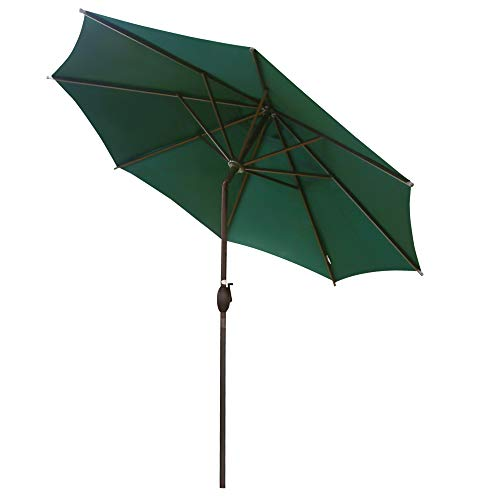 Abba Patio 9 ft Patio Umbrella Outdoor Market Table Umbrella with Push Button Tilt and Crank for Garden, Lawn, Deck, Backyard & Pool, 8 Sturdy Steel Ribs, Dark Green