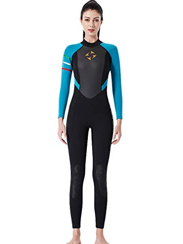 YuanDian Mujer 3mm Trajes De Neopreno Buceo Mono Stretch Espesar Cálido Submarinismo Traje De Buzo Una Pieza Surf Natacion Triathlon Snorkel Deportes Acuáticos Mono Ropa Buceo Negro Azul M