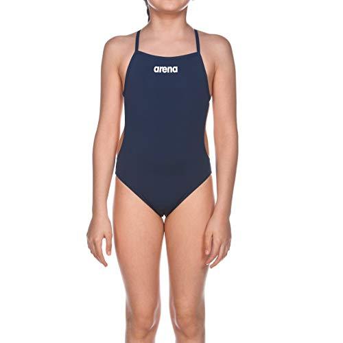 ARENA Solid Lightech Junior Costume Intero Bambina, Costume da Bagno Sportivo, Tessuto MaxLife con Massima Resistenza al Cloro e Protezione UV UPF 50+, 10-11 , Blu (Navy-White)