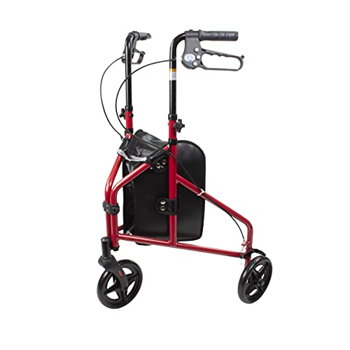 Dynarex DynaGo Zoom Rollator is Foldable, Lightweight, and Travel Friendly, This 3-Wheel Rolling Walker has a 250 Lb. Weight Capacity, Includes a Large, Removable Storage Pouch, Red Frame, 1 Rollator