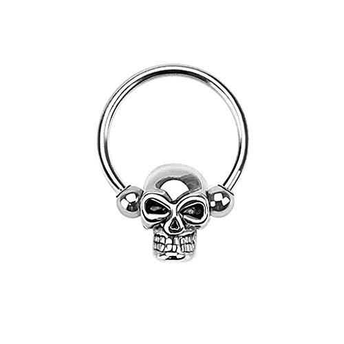 Paula & Fritz® Curved Barbell Ring Brust-Piercing Nippel-Piercing Augenbraue-npiercing Toten-Kopf Edelstahl Chirurgenstahl 316L HSC01_1612