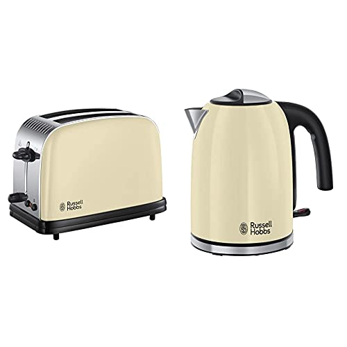 Russell Hobbs Classic Kettle and 2 Slice Toaster, Cream