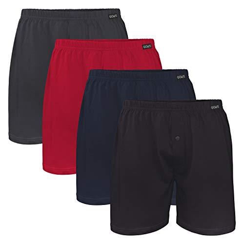 Gomati Herren Jersey Boxershorts (4 Stück) Stretch Unterhose aus Baumwolle - Schwarz-Navy-Anthra-Rot 4XL