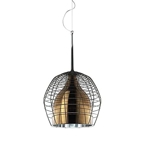 Lámpara Colgante, Casquillo E27, 20W, de Cristal soplado y Metal Lacado Mate, Modelo Cristal Cage pequeña, 34 x 34 x 69 centímetros, Color Bronce (Referencia: LI02VP 50 E)