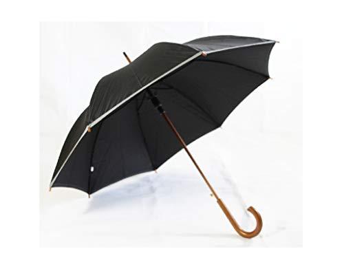 Hochwertiger Regenschirm aus Holz/Stockschirm, Automatik in schwarz mit Reflektionsstreifen (ST1024)