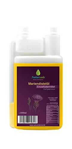 Naturzade Mariendistelöl Einzelfuttermittel Pferde Tiere (kaltgepresst) 1 Liter Dosierflasche