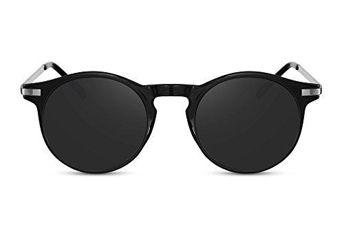 Cheapass Sunglasses rund Vintage Schattierungen schwarzer Rahmen mit goldenen Metallbügeln und dunklen Gläsern UV400-geschützt Mann Frau