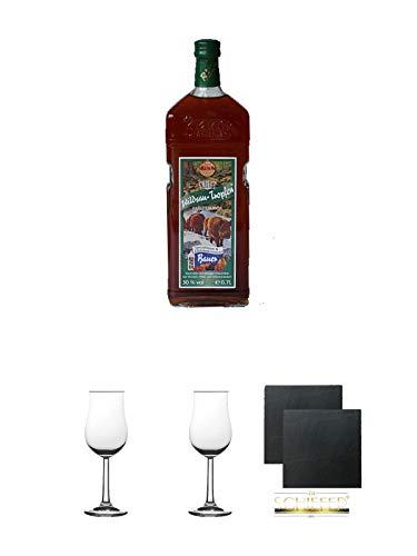 Wildsautropfen Kräuterlikör HALBBITTER 30% 0,7 Liter + 2 Bugatti Nosing Gläser mit Eichstrich 2cl und 4cl + 2 Schiefer Glasuntersetzer eckig ca. 9,5 cm Ø