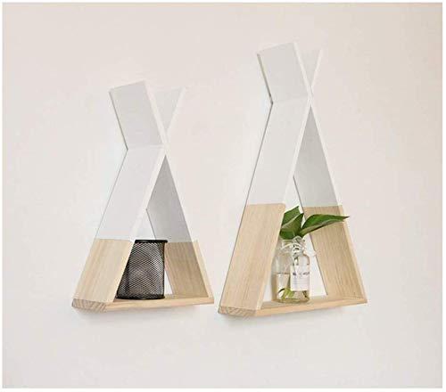 Set van 2 moderne wandplanken, drijvend houten opbergrek met onzichtbare bevestiging, eenvoudige grip tot 15 kg A + (kleur: zwart) wit