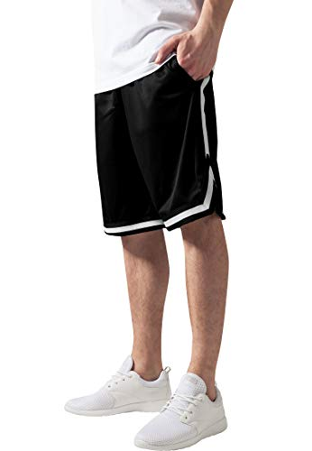 Urban Classics TB243 Herren Shorts Stripes Mesh, Gr. 56 (Herstellergröße: XXL), Mehrfarbig (blkblkwht 52)