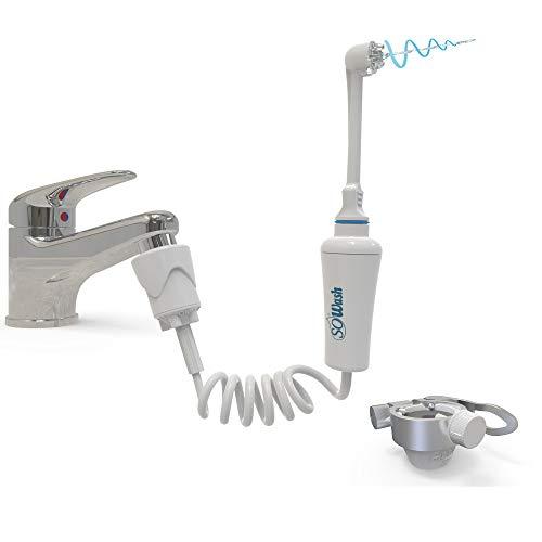 Sowash Munddusche Travel inkl. Universal Quick Adapter Addy für den Wasserhahn, ohne Batterien oder Strom